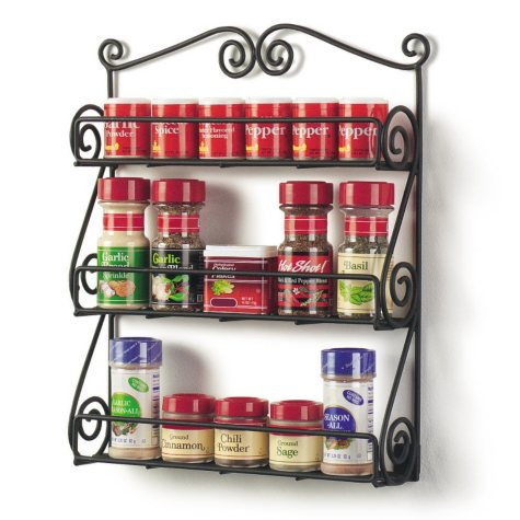 Scroll Wall Mount Spice Rack - Black
