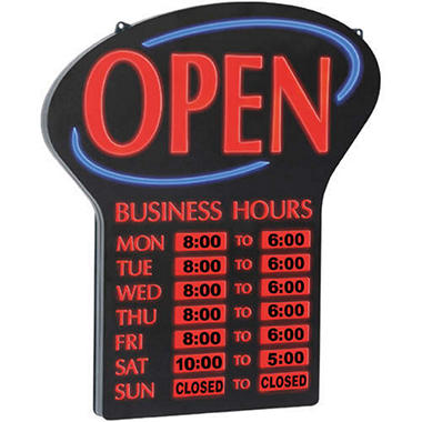 newon led lighted open sign w business hours sam 39 s club. Black Bedroom Furniture Sets. Home Design Ideas