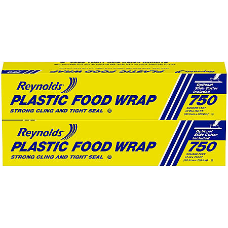 "Reynolds 12"" Plastic Food Wrap, 1500 sq. ft. Roll (2 pack)"