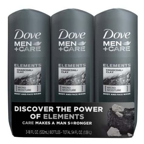 Dove Men+Care Body Wash, Charcoal+Clay (18 fl. oz., 3 pk.)