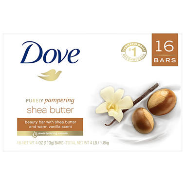 Dove Purely Pampering Shea Butter Beauty Bar Soap (4 oz., 16 ct.)