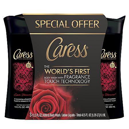 Caress Bodywash with Fragrance Touch Technology, Love Forever (13.5 fl. oz., 3 pk.)