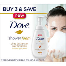 Dove Shower Foam Body Wash, Shea Butter (13.5 fl. oz., 2 pk.)