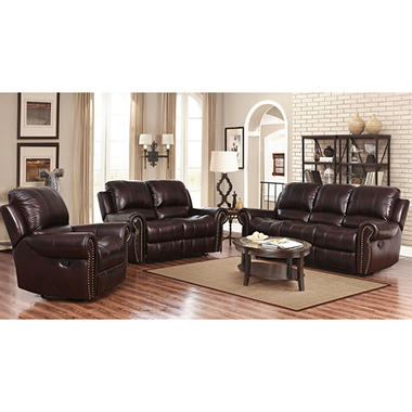 Bentley Top Grain Leather Recliner Sofa Loveseat And Armchair Set