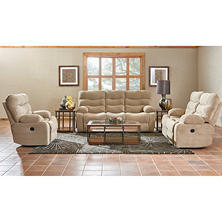 XL Performance Hercules 3-Piece Set: Reclining Sofa, Loveseat and Chair, Beige