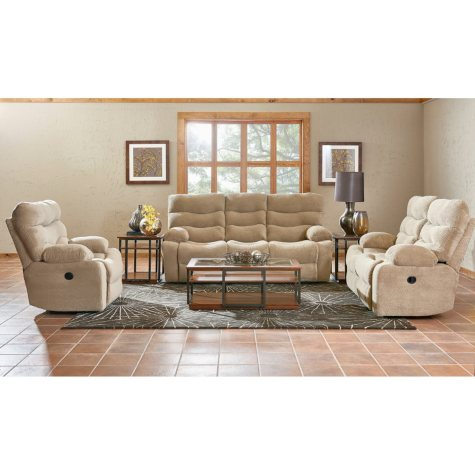 Klaussner XL Performance Hercules 3-Piece Set: Reclining Sofa, Loveseat and Chair, Beige