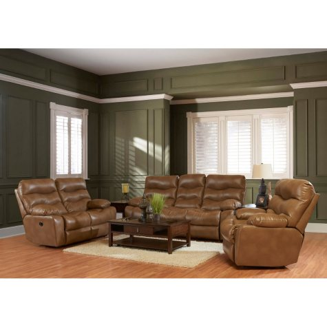 Klaussner XL Performance Hercules 3-Piece Set: Reclining Sofa, Loveseat and Chair, Brown