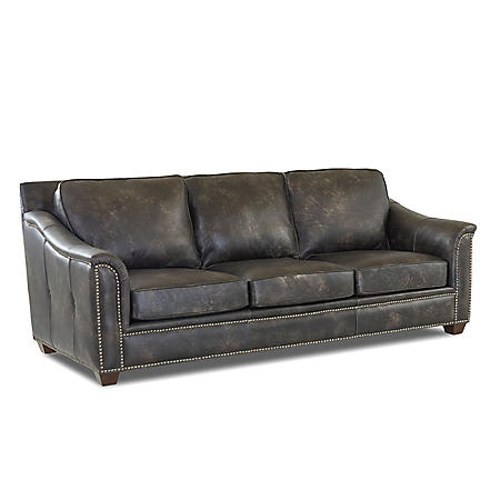 Klaussner Waldon Leather Down Blend Sofa, Gray