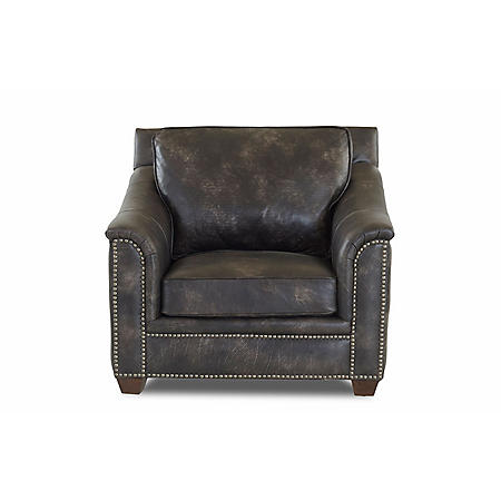 Klaussner Waldon Leather Down Blend Chair, Gray