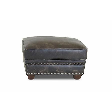 Klaussner Waldon Leather Ottoman, Gray