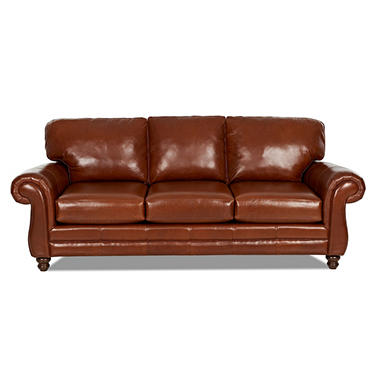Klaussner Vaughn Leather Sofa, Cognac - Sam's Club