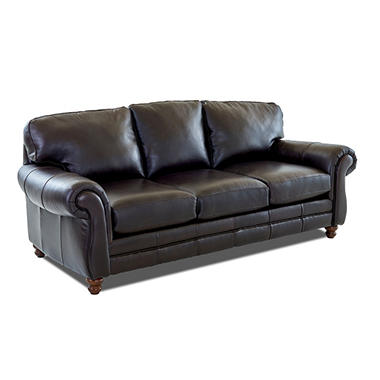 Klaussner Vaughn Leather Sofa, Brown - Sam's Club