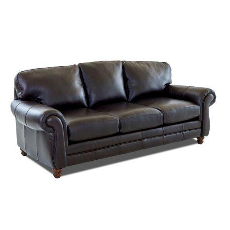 Klaussner Vaughn Leather Sofa, Brown