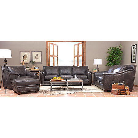Klaussner Waldon Leather Down Blend 4-Piece Set, Gray