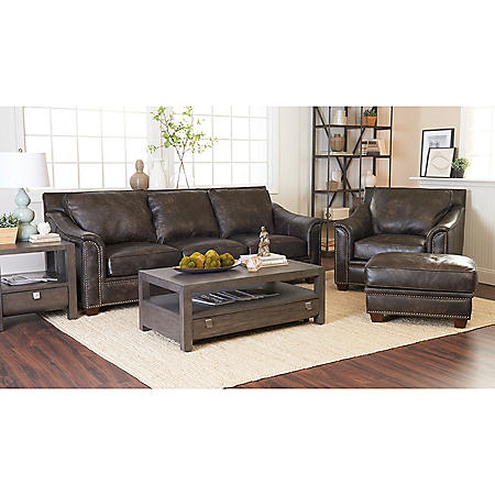 Klaussner Waldon Leather Down Blend 3-Piece Set, Gray