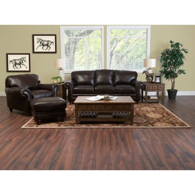 Klaussner Vaughn Leather 3 Piece Set, Brown