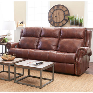 Verner Leather Power Reclining Sofa With Power Headrest Lumbar Support