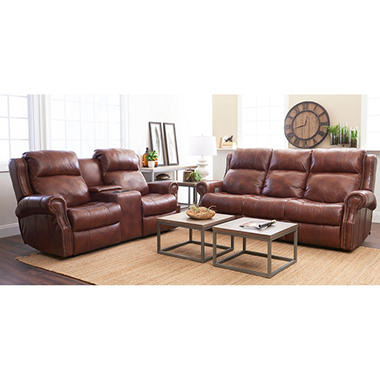 Verner Leather Power Reclining Sofa Console Reclining Loveseat Set with Power Headrest Lumbar Support