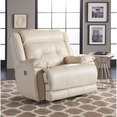 McCann Leather Power Rocking Reclining Chair With Power Headrest, Lumber  Support, Extended Footrest,