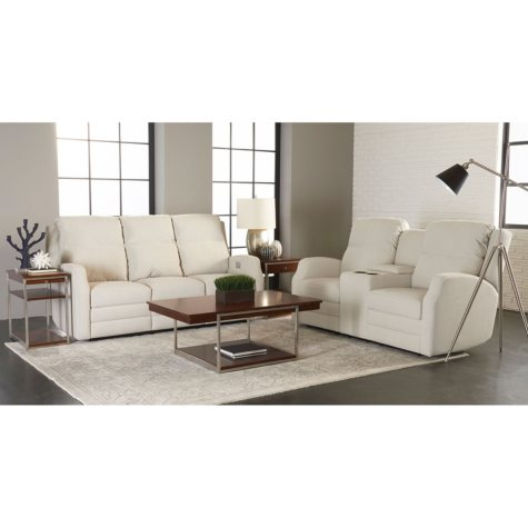 Kessler Power Reclining Sofa Console and Power Reclining Loveseat with Power Headrest, Lumber Support, Extended Footrest, Bluetooth App