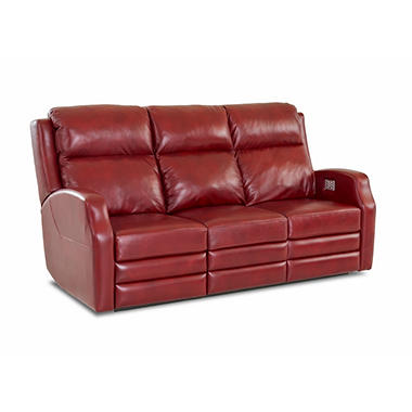 Kessler Leather Power Reclining Sofa With Power Headrest, Power Lumber  Support, Power Extended Footrest