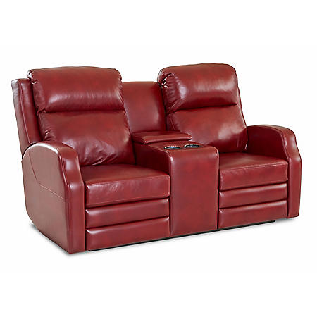 Kessler Leather Console Power Reclining Loveseat With Power Headrest