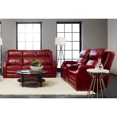 Kessler Leather Reclining Sofa And Console Loveseat With Headrest Lumber