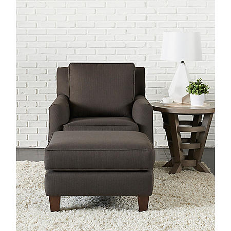 Klaussner Cecil Accent Chair and Ottoman Living Room Collection