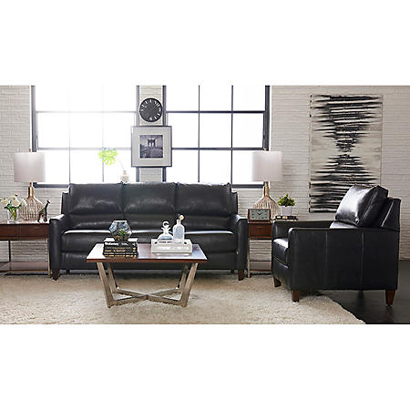 Klaussner Coralee Top-Grain Leather Sofa and Chair Living ...