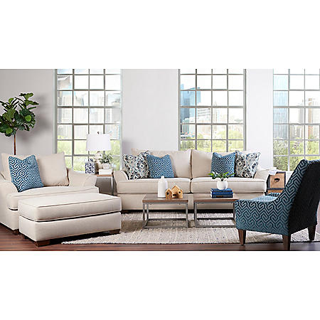 Klaussner Tabby Sofa, Oversized Chair and Ottoman Living Room Collection