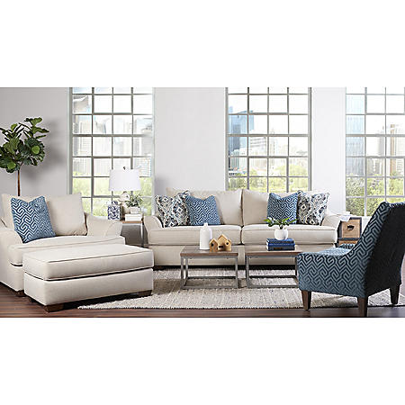 Klaussner Tabby Sofa, Oversized Chair, Ottoman and Accent Chair Living Room Collection