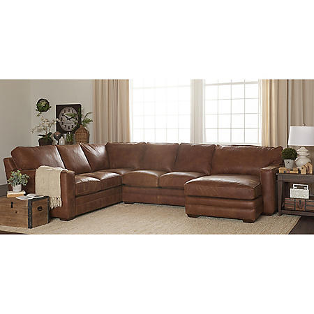 Klaussner Haines Top-Grain Leather U-Shape Sectional with Down Blend Cushions