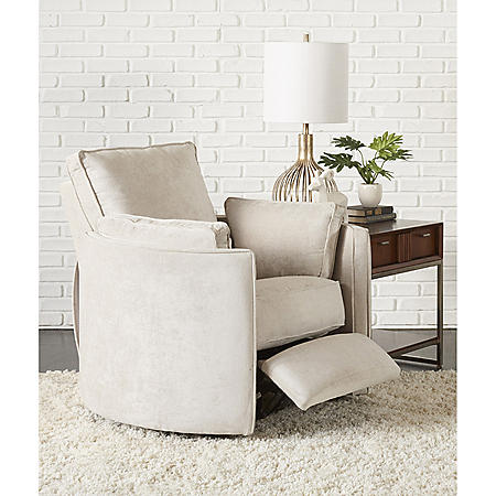 Klaussner Ramsey Reclining Swivel Chair with Push Back Reclining Activation