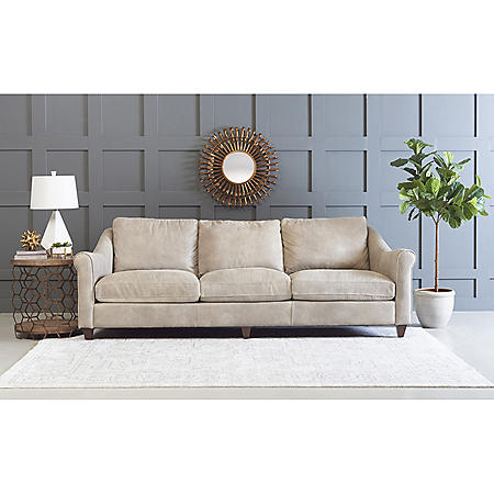 Klaussner Ilyssa Top-Grain Leather Extra-Long Sofa with Down Blend Cushions