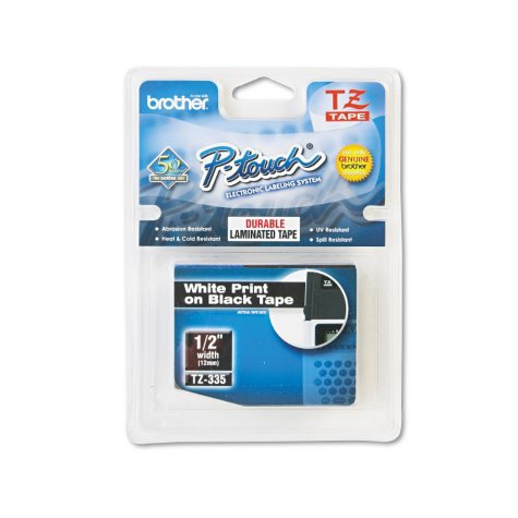 "Brother P-Touch - TZe335 Label Tape, 1/2"", White on Black"