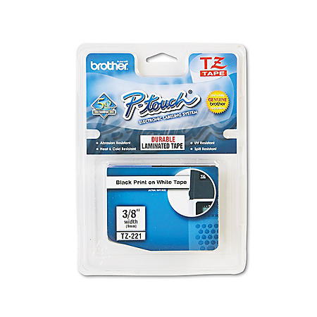 "Brother P-Touch - TZe221 Label Tape, 3/8"", Black on White"