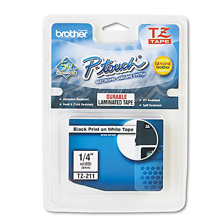 "Brother P-Touch TZe211 Label Tape, 1/4"", Black on White"
