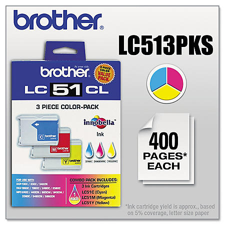Brother LC51 Ink Cartridge, Color (400 Page Yield, 3 pk.)
