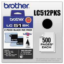 Brother - LC512PKS Innobella Ink, 500 Page-Yield, 2/Pack -  Black
