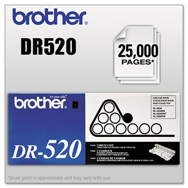 Brother DR-520 Drum Unit, Black (25,000 Yield)