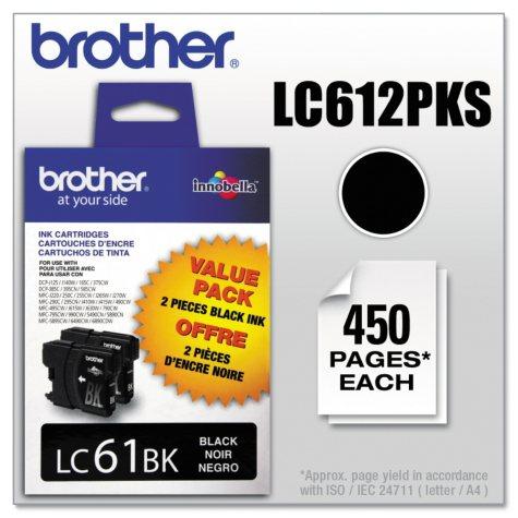 Brother LC61 Innobella Ink Cartridge, Black (450 Page Yield, 2 pk.)