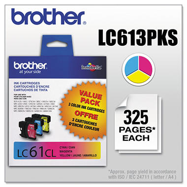 Brother LC613PKS (LC-61) Innobella Ink, Cyan/Magenta/Yellow (325 Page Yield, 3 pk.)