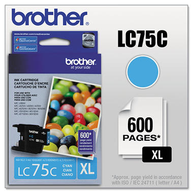 Brother LC75 Innobella High Yield Ink Cartridge, Select Color (600 Page Yield)