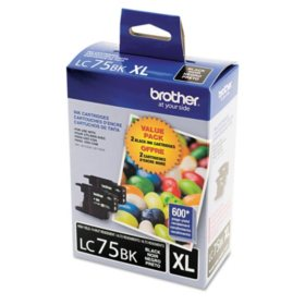Brother LC75 Innobella High Yield Ink Cartridge, Black (600 Page Yield, 2 pk.)