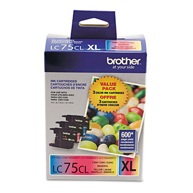 Brother LC75CL High Yield Ink Cartridge, Cyan/Magenta/Yellow (3 pk., 600 Page Yield)