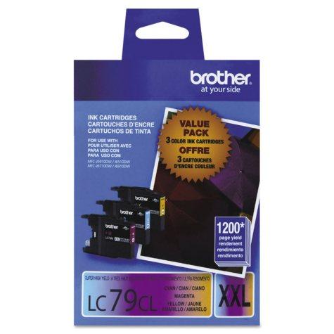 Brother LC79 Innobella Super High-Yield Ink Cartridge, Cyan/Magenta/Yellow (1,200 Page Yield, 3 pk.)