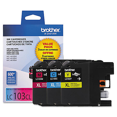 Brother LC103 Innobella High-Yield Ink Cartridge, Color (600 Page Yield, 3 pk.)