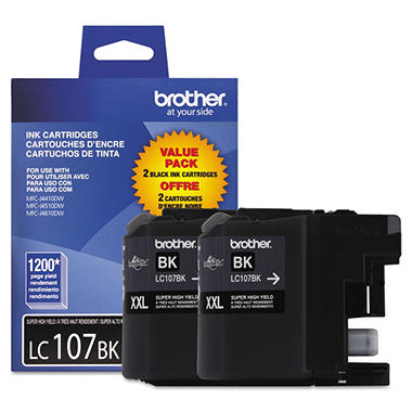 Brother LC107 Innobella Super High Yield Ink Cartridge, Black (2 pk., 1,200 Page Yield)