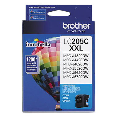 Brother LC205C Super High-Yield Ink,  Cyan (1200 Page Yield)