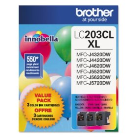 Brother LC2033PKS High-Yield Ink, Cyan/Magenta/Yellow (550 Page Yield)
